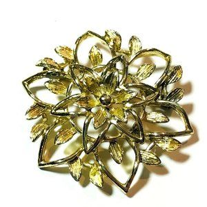 Vintage Sarah Coventry Floral Brooch Pin Gold Tone